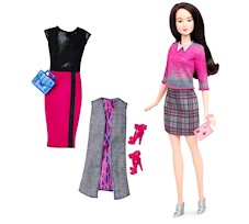 Barbie Fashionistas - Lalka z 3 ubrankami Chic With A Wink DTD99