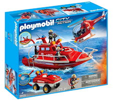 Playmobil City Action Łódź strazacka, helikopter z amfibią 9503